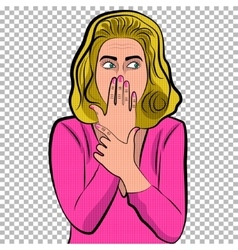 Pop art cute woman with covering her mouth vector