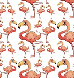 Seamless background with flamingo birds vector