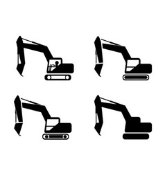 set of excavator in silhouette symbol style vector image vector image
