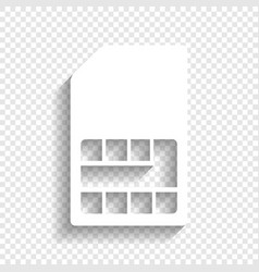 Sim card sign white icon with soft shadow vector