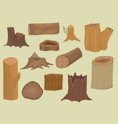 Stacked wood pine timber for construction building vector