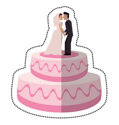 Sweet cake wedding with couple vector