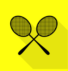 Tennis racquets sign black icon with flat style vector