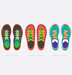 Top View Of Colorful Running Shoes vector image vector image