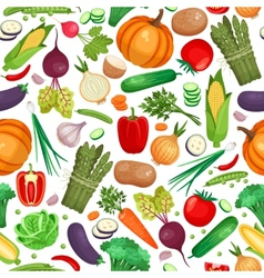 Vegetable organic food seamless background vector image vector image