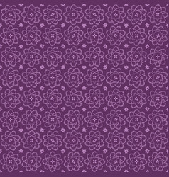 Violet seamless atomic flower pattern with vector