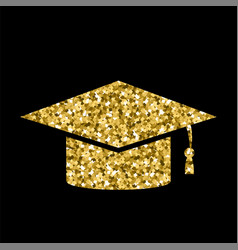 Yellow glitter graduation cap icon isolated vector