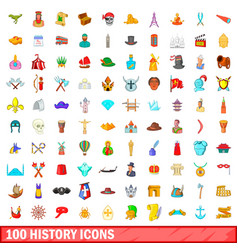 100 history icons set cartoon style vector