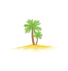 Two palm trees standing on sandy beach vector