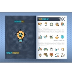 Brochure design template business icons flat vector