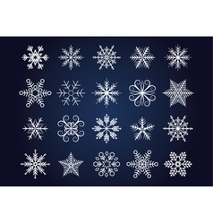Snowflakes set white snowflakes on dark blue vector