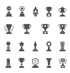 Trophy awards solid icons vector