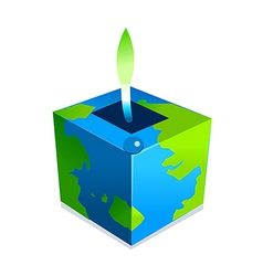 Icon cube and sprout vector