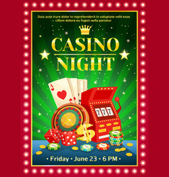 Night casino bright poster vector