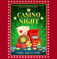 night casino bright poster vector image