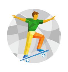 skateboarder jump on skateboard vector image