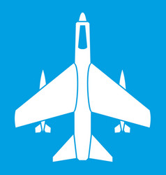Armed fighter jet icon white vector