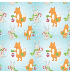 Christmas seamless pattern with bunny and fox vector