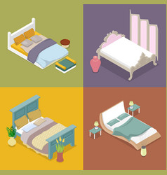 Isometric double king size bed bedroom furniture vector