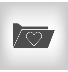 Computer folder with heart vector