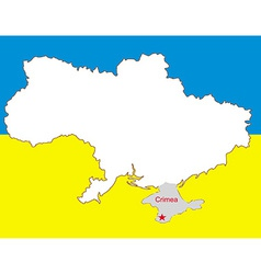 Ukraine map with the crimea peninsula highlighted vector