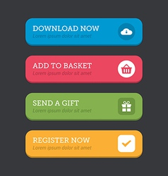 Web button set in four colours with icons vector