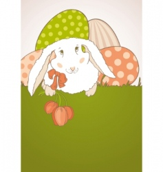 Easter bunny with tulips vector