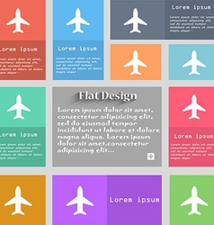 Airplane plane travel flight icon sign set of vector