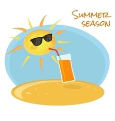 Summer sun drinking orange cocktail vector image