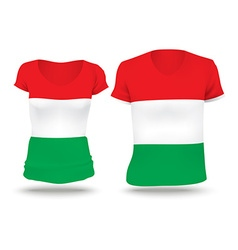 Flag shirt design of hungary vector