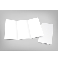 Blank white folding paper flyer on gray background vector
