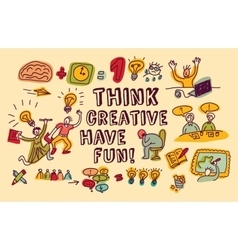 Think creative fun doodles people color vector