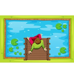 Man sitting by the pond vector