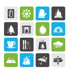 Winter sport and relax icons vector