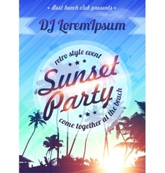 Summer holidays beach sunset party poster template vector