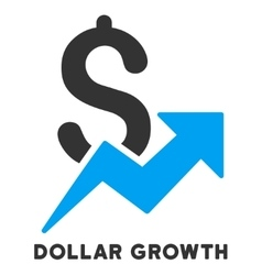 Dollar growth icon with caption vector