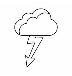 Cloud with lightning icon outline style vector