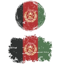 Afghanistan round and square grunge flags vector image vector image