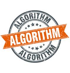 Algorithm round grunge ribbon stamp vector