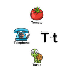alphabet letter t-tomato telephone turtle vector image vector image