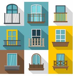 balcony icons set flat style vector image