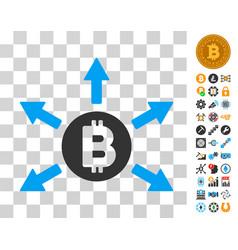 Bitcoin emission icon with bonus vector