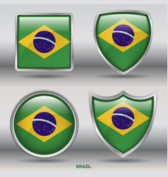 brazil flag in 4 shapes collection vector image vector image