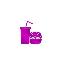 burger and paper cup with a drink symbol of fast vector image