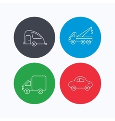 Car delivery truck and evacuator icons vector image
