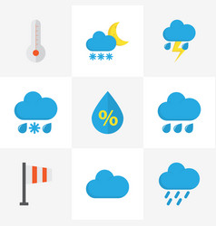 Climate flat icons set collection of frosty vector