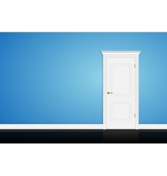 Closed white door on blue wall vector image vector image