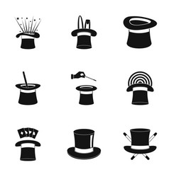 Cocked hat icons set simple style vector