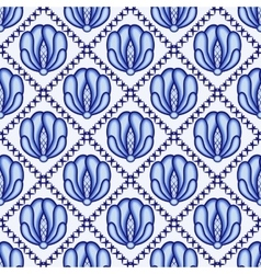 Continuous flower pattern in style gzhel lattice vector