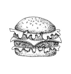 Dotwork fast food burger vector